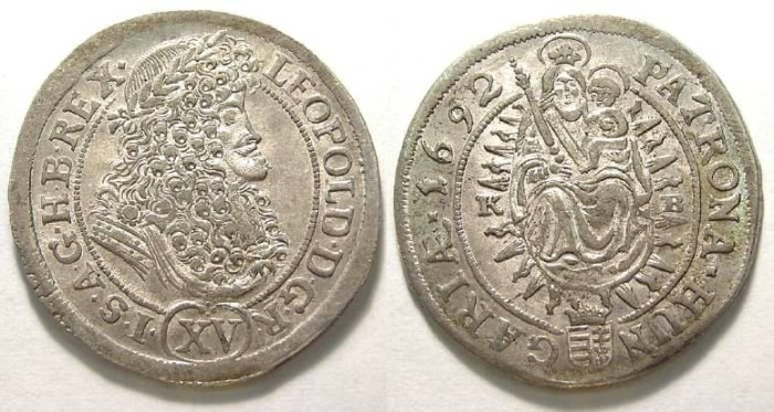 Ancient Coins - Hungary.  Leopold III. 1692. Silver Krajczar.