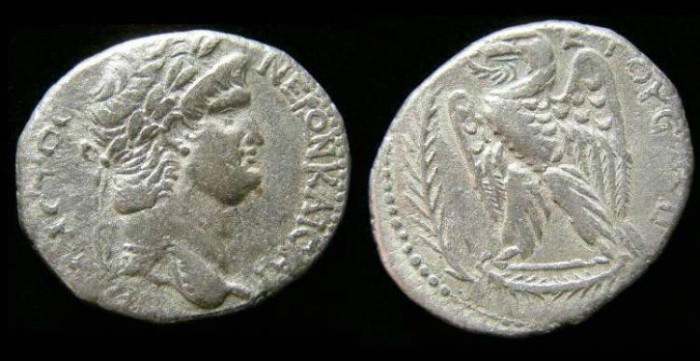 Ancient Coins - Nero, AD 54 to 68. Silver tetradrachm from Antioch