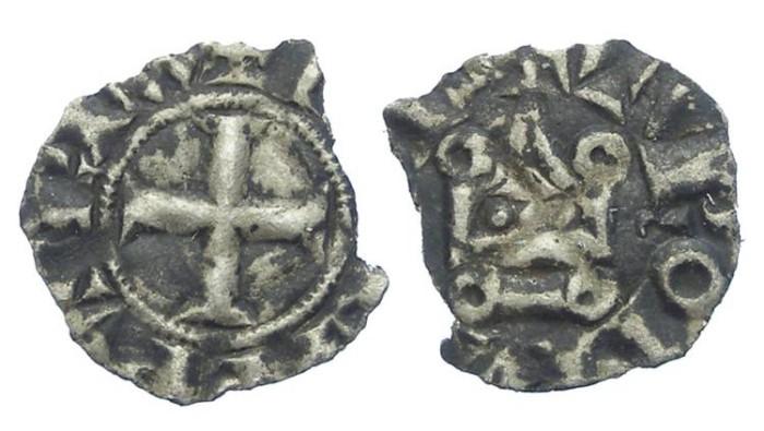 Ancient Coins - France. Royal. Philip IV, AD 1285 to 1314.  Billon obol.  DAMAGED.
