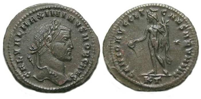 Ancient Coins - Maximinus II, as Caesar, AD 305-308.  Bronze follis