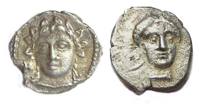 Ancient Coins - Cilicia, Nagidos. ca. 420 to 380 BC. Silver obol.