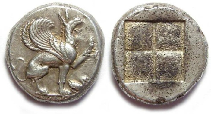 Ancient Coins - Teos in Ionia.  ca. 544 to 494 BC. Silver stater.