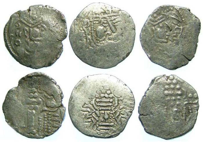 Ancient Coins - INDO-SASSANIAN. Gurjura Confederacy. 8th to 10th century. Billon Drachm.  Dealer lot of 3 coins.