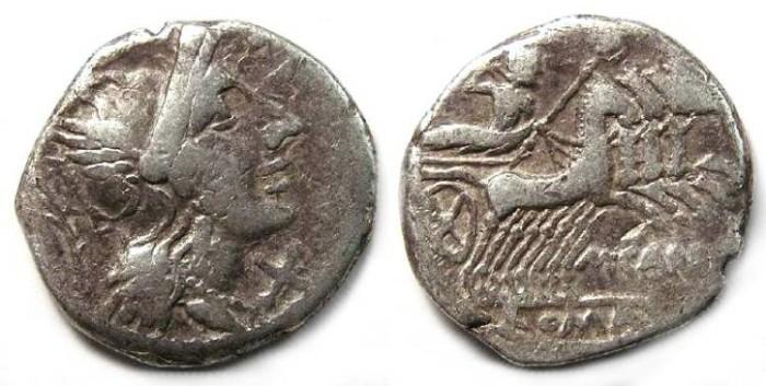Ancient Coins - M. Papirus Carbo. ca. 122 BC. Silver denarius.