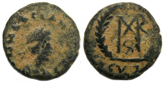 Ancient Coins - Marcian, AD 450 to 457.  AE-4