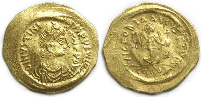 Ancient Coins - Byzantine, Justinian I, AD 527 to 565. Gold tremissis.