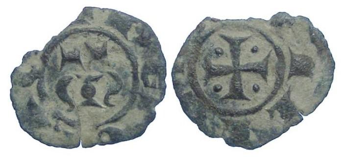 World Coins - Italy.  Kingdom of Sicily.  Manfred von Hohenstaufen, 1258-1266.  Billon Denaro.