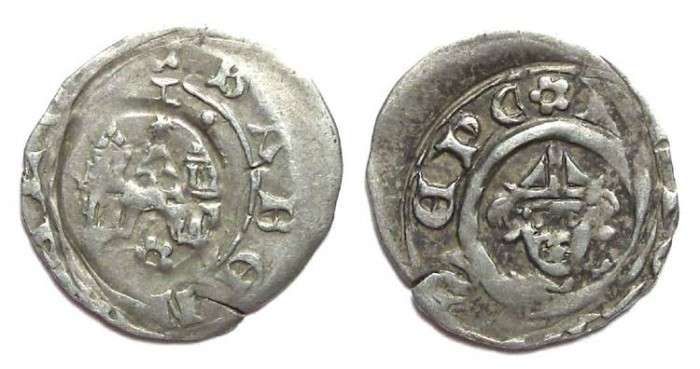 Ancient Coins - Germany, Bamberg.  Leopold I, AD 1246 to 1303. Silver pfennig.