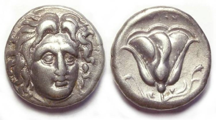 Ancient Coins - Rhodos. ca. 304 to 275 BC. Silver didrachm.