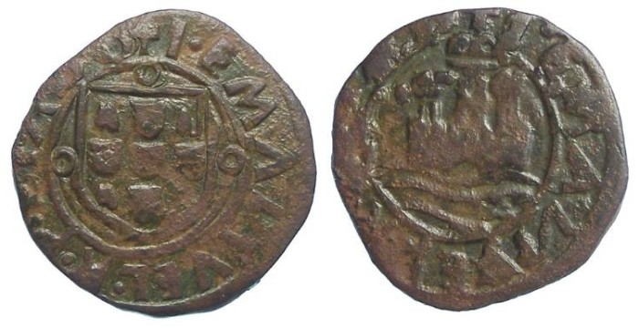 Ancient Coins - Portugal. Manuel Ier l'Aventurier, AD 1495 to 1521.  AE Ceitil.