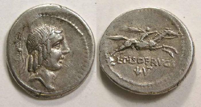 Ancient Coins - Roman Republic. L. Calpurnius Piso Frugi. ca. 90 BC. Silver denarius