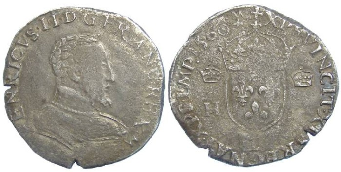 Ancient Coins - France. Francois II in the name of Henri II. AD 1560. Silver teston.