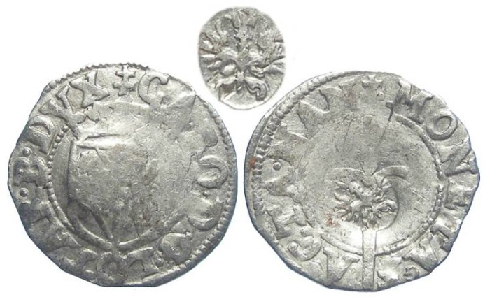 World Coins - French Feudal, Lorraine. Charles III, AD 1555 to 1608.  Countermarked silver denier.