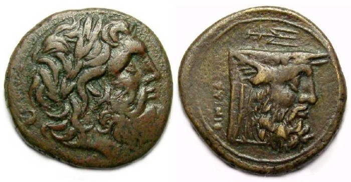 Ancient Coins - Oiniadai in Akarnania. ca. 219 to 211 BC. AE 23.