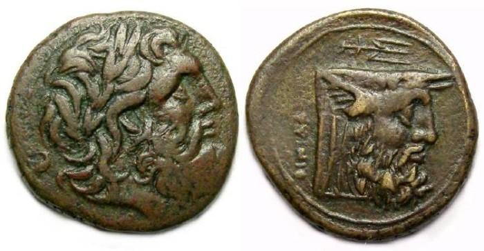 Ancient Coins - Oiniadai in Akarnania. ca. 219 to 211 BC. AE 23.