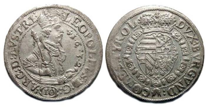 Ancient Coins - Austria,  Leopold V.  AD 1632.  Silver 10 kreuzer.