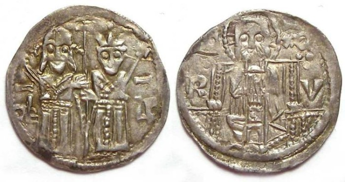 Ancient Coins -  Serbia, Stefan Uros IV Dusan as Czar with Helen, AD 1345-1355. Silver dinar