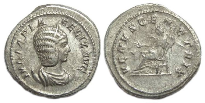 Ancient Coins - Julia Domna, AD 193 to 217. Silver antoninianus.