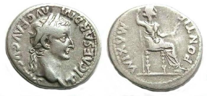 Ancient Coins - Tiberius, AD 14 to 37, Silver denarius.