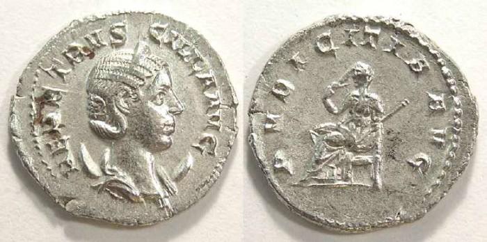 Ancient Coins - Herennia Etruscilla. AD 249-251. Silver Antoninianus