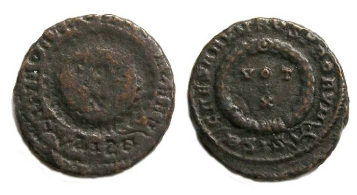 Ancient Coins - Crispus.  AD 317 to 326.  Reverse BROCKAGE of an AE 3.