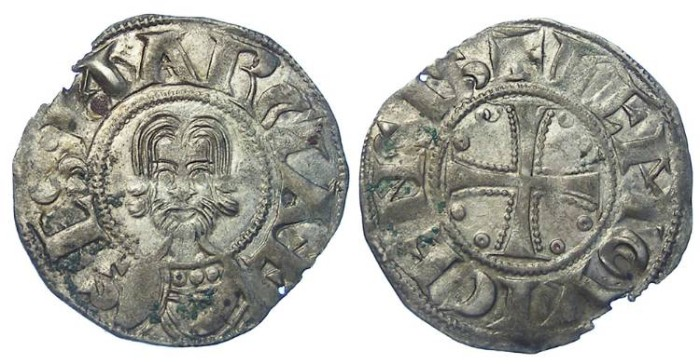 World Coins - French Feudal. Limoges. Abby of St. Martial. ca. AD 12th century and up to 1243. Silver denier.