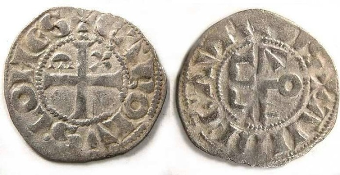 Ancient Coins - France Feudal. Anjou. Charles I, AD 1246 to 1285.