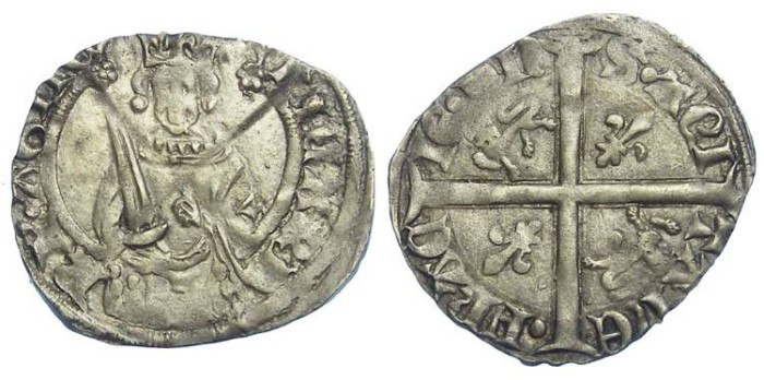 Ancient Coins - Anglo-Gallic. Richard II as Duke of Aquitane, AD 1377 to 1399. Silver Hardi d'argent.