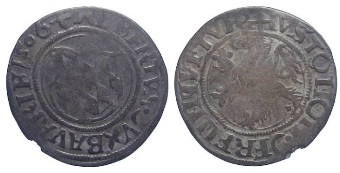 Ancient Coins - Germany, Bavaria.  Albrecht IV, AD 1464 to 1508.  Silver 1/2 batzen of 1506.