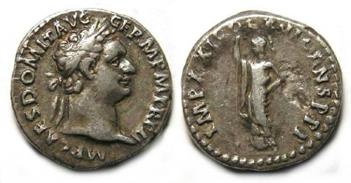 Ancient Coins - Domitian, AD 81 to 96. Silver denarius