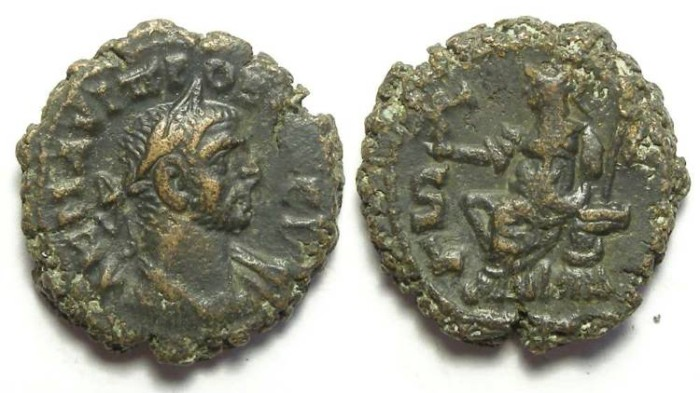 Ancient Coins - Alexandria, Probus, AD 276 to 282, Yr-6 potin tetradrachm. 18.5 mm.