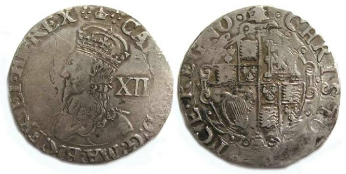 Ancient Coins - Britain.  Charles I, 1625 to 1649.  Silver shilling.