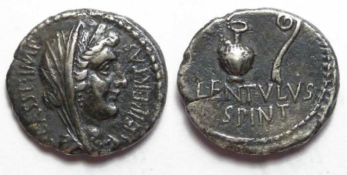 Ancient Coins - Roman Imperatorial. Cassius.  43 to 42 BC. Silver denarius