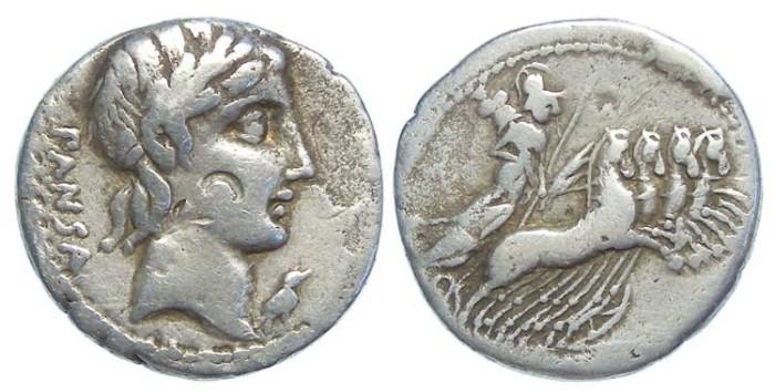Ancient Coins - Roman Republic. L. Vibius C.f. Pansa. ca. 90 BC. Silver denarius