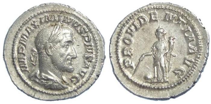 Ancient Coins - Maximinus I. AD 235 to 238. Silver denarius. MEDALLIC STRIKE.
