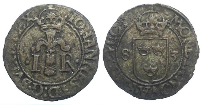 Ancient Coins - Sweden. Johann III, AD 1568 to 1592.  Billon 1/2 ore.  Dated 1583.