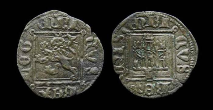 Ancient Coins -  Spain, Castile & Leon. Enrique II, AD 1369 to 1379. Billon Noven