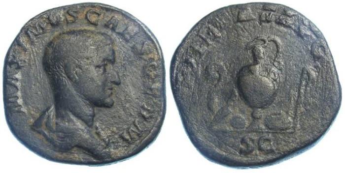 Ancient Coins - Maximus as Caesar. AD 235 to 238. AE sestertius.