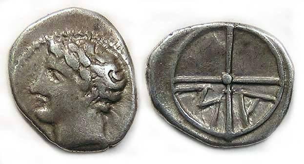 Ancient Coins - Gaul, Massalia. ca 4th century BC. Silver obol.