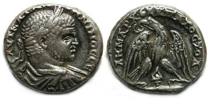 Ancient Coins - Caracalla, AD 198-217, Billon tetradrachm from Tyre.
