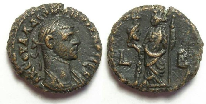 Ancient Coins - Alexandria, Diocletian, AD 284 to 305, Yr-2 potin tetradrachm. 19 mm.
