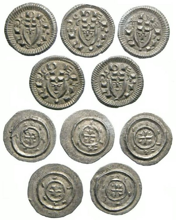 Ancient Coins - Hungary. Bela II, AD 1131 to 1141. Silver Denars. DEALER LOT OF 5 COINS.
