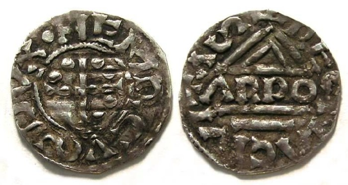 Ancient Coins - Germany. Regensburg.  Heinrich II, AD 1002 to 1024.