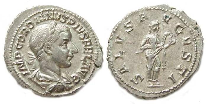 Ancient Coins - Gordian III, AD 238-244. Silver Denarius