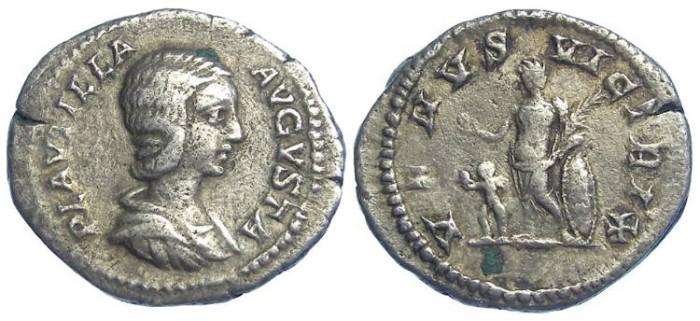 Ancient Coins - Plautilla.  AD 202 to 205.  Silver denarius.