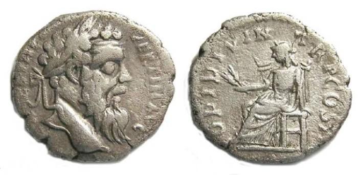Ancient Coins - Pertinax, AD 193. Silver denarius.  Alexandria mint.