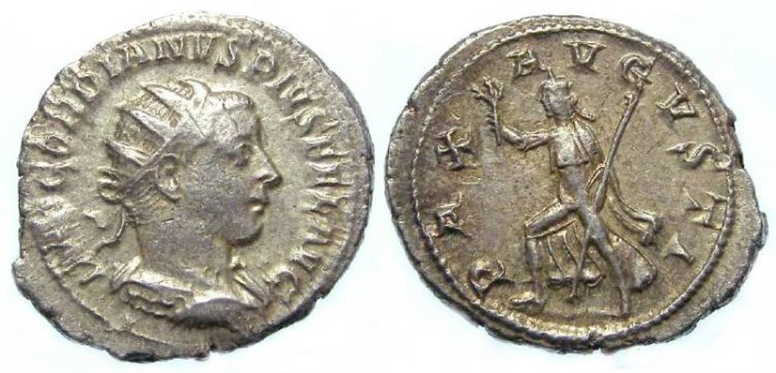 Ancient Coins - Gordian III, AD 238-244. Silver Antoninianus. Exceptionally heavy at 6.19 grams.