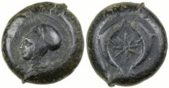 Ancient Coins - Syracuse, Sicily. Time of Dionysios I, ca. 405 to 367 BC. Bronze Drachm.