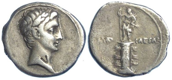 Ancient Coins - Octavian (later to be Augustus), Before 27 BC. Silver denarius.