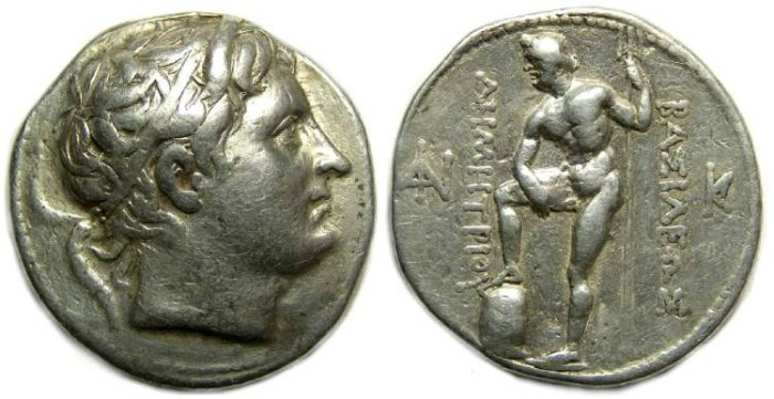 Ancient Coins - Macedonian Kingdom, Demetrios Poliorketer, 306 to 283 BC. Silver tetradrachm.